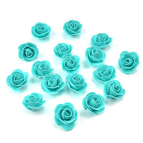 (Fake Flower 50 pcs PE Foam Roses Head Artificial Flowers Wedding Decoration DIY Party Festival Home Decor Scrapbooking Gift Box DIY Wreath (Tiffany))