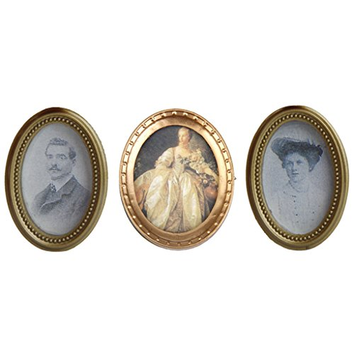 Resin Framed (MonkeyJack 3Pcs Vintage Resin Framed Oval Photos Wall Paintings Mural Wall Pictures for 1:12 Dollhouse Miniature)