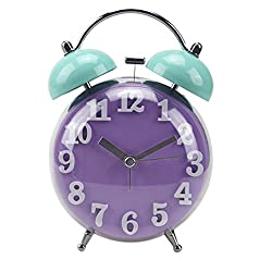 "JHion 4"" Twin Bell Alarm Clock with Stereoscopic Dial,Backlight,Battery Operated,Round Alarm Clock Purple"