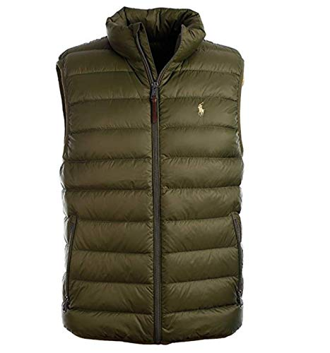 Company Olive - POLO RALPH LAUREN Mens Water-Repellent Down Vest, Company Olive, XL