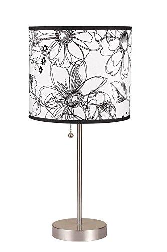 - Hongville Oval Shape Metal Base w/Stylish Shade Table Lamp (Black/White Floral)