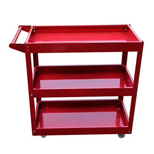 Service Tool Cart,Tools Storage Trolley,4 Castors Hand Dolly,Luggage Cart Tools Box with Handle,Tool Utility Shelves Tool Service Cart 3-Tray Utility Tool Organizer Rolling Trolley Workshop Garage