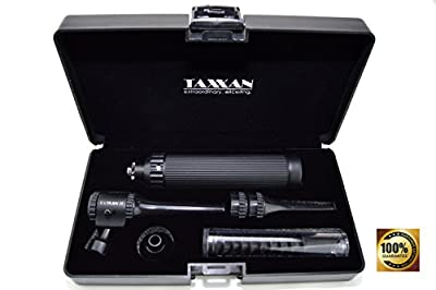 TAXXAN Veterinary Black Otoscope ENT Diagnostic Set with Metal Adapter to USE Standard Disposable Speculum ...