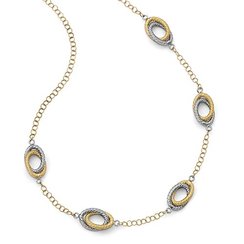 - 14k Two-Tone Gold Double Oval Link Station Necklace, 20 Inch
