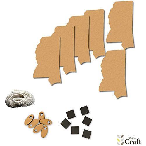 Mississippi State Wood Shapes Craft Kit, Kids Project Wood Shape Pack, Great for Party, School, Fun DIY Projects, Item 1321539