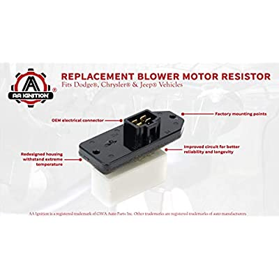 HVAC Blower Motor Fan Resistor - AC Heater Relay - Replaces 973-020, 68004241AA, 5012212AA, 4720278 - Fits Dodge Ram 1500, 2500, Chrysler Concorde, Jeep Grand Cherokee Model Years 1993-2020 and more: Automotive