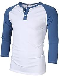 Mens Crew Neck 3/4 Sleeve Raglan Baseball Jersey Henley T Shirts