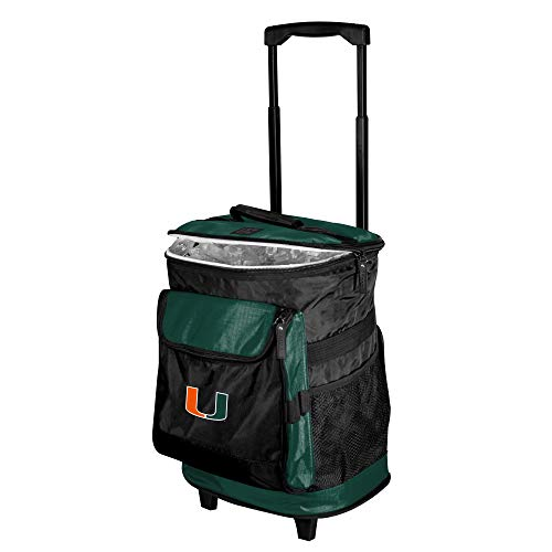 Logo Brands NCAA Miami Hurricanes Unisex Miami Rolling Cooler57B - Rolling Cooler, Hunter, One Size ()