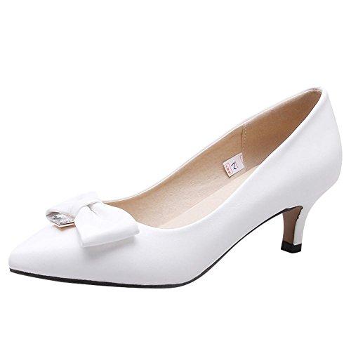 MissSaSa Damen kitten heel Schleife Leder-Pumps Weiß