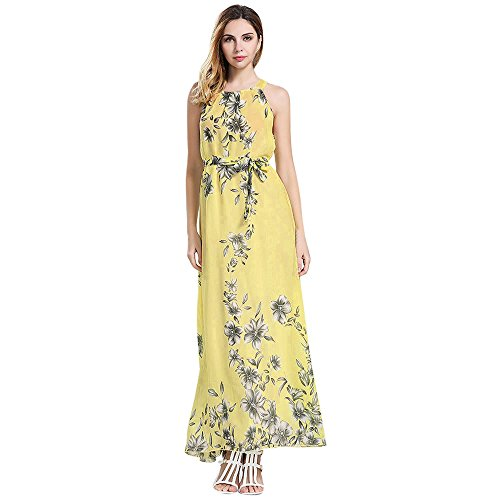 ♥ HebeTop ♥ Chiffon Long Dress, Women Summer Causal Boho Beach Cocktail Sundress Flowy Maxi Dress Yellow ()