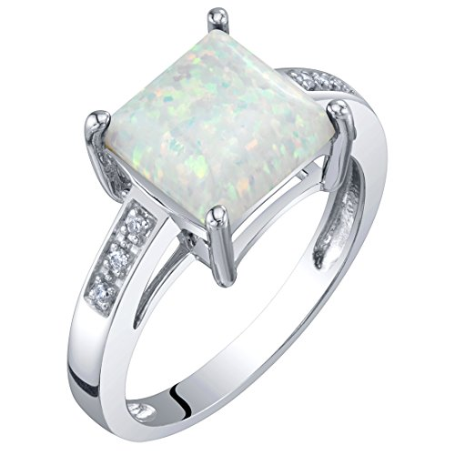 14K Gold Created Opal and Diamond Princess Cut Solitaire Ring 1 Carat Size 7