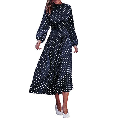 - ☆HebeTop Women's Casual Wrap V Neck Short Sleeves Polka Dot Printed Boho Beach Midi Dress Black