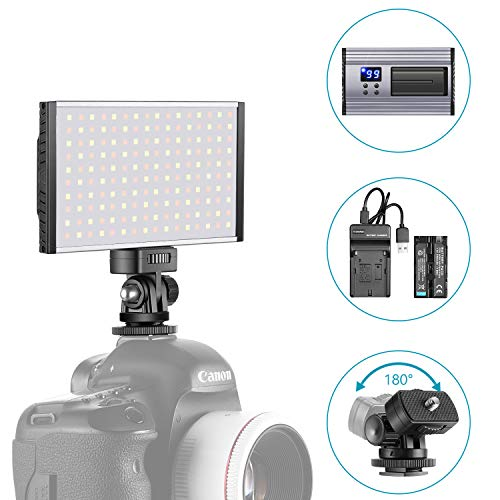 Neewer LED Video Light Panel Camera/Camcorder Video Fill Lighting, 160 SMD LEDs Bi-Color 3200K-5600K, Ultra Thin Anodized Aluminum Housing for All DSLR Cameras, with Cold Shoe Adapter/Battery/Charger