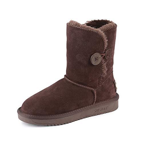 ZY&FC Bottes de Neige avec Boutons, et Corps Moyen, Bottes d'hiver en Velours et Boutons, épaisses Chaussures Plates à Semelle antidérapante Thirty-nine|Chocolate bddfa2