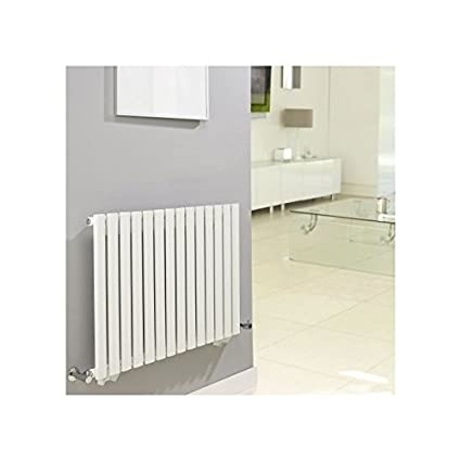 Hudson Reed NAHB0022 - Luxury White Horizontal Designer Radiator Heater With Free Angled Valves - Mild