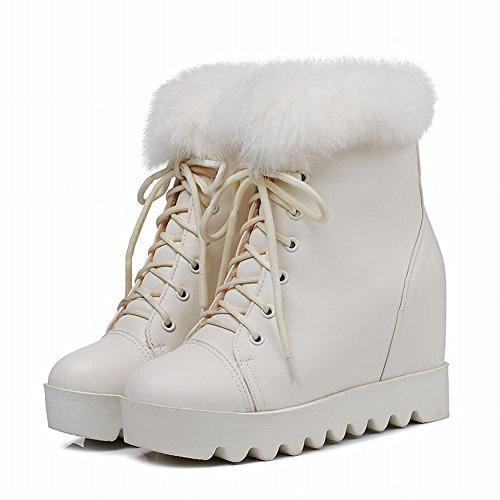 Latasa Dames Lace-up Iniside Sleehak Faux Fur Opening Boots White