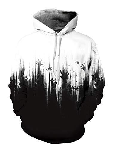 Mens Halloween Horrible Hands Hoodies Pullover Jumpers Sweatshirt (US XXL)