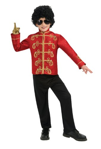 Michael Jackson Child's Deluxe Military Jacket Costume Accessory, Large, Red