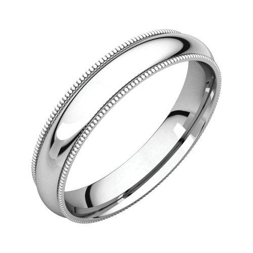 Bonyak Jewelry Palladium 4 mm Milgrain Comfort-Fit Band in Palladium - Size 13