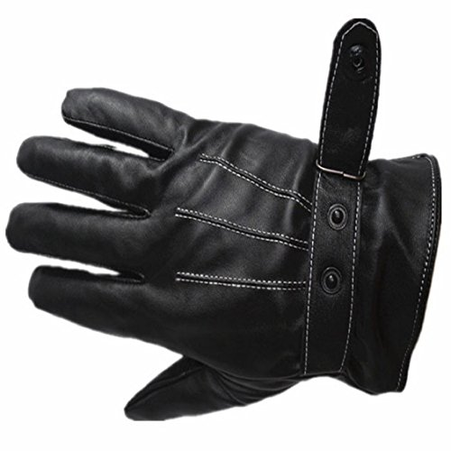 Ikevan Mens Luxurious PU Leather Gloves Outdoor Driving Warm Gloves Cashmere Mittens Autumn Winter (Black)
