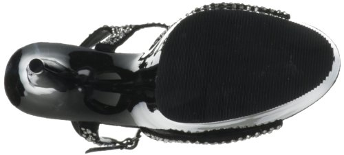 Pleaser Damen Delight-609rs Peeptoe Sandalen Noir (Blk Suede-Pewter Rs/ Blk)