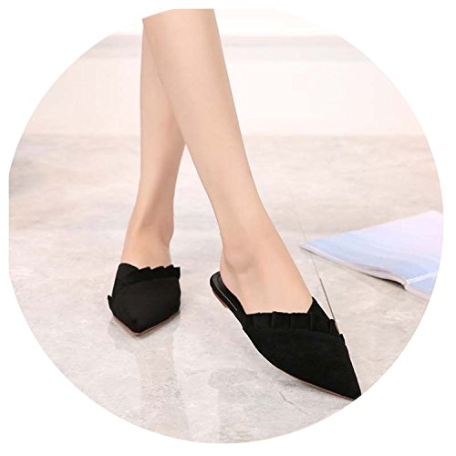 top Women Flat Slippers Slides Casual Loafers Ruffles Mules Sandals Chaussure Big Size 41 save more