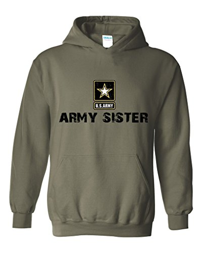 Army Sister Army Strong Apparel Unisex Hoodie Sweatshirt Large Military Green (Army Star Sweatshirt)