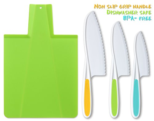 Lettuce Serving Fork (Tovla Kids Kitchen Knife and Foldable Cutting Board Set: Children's Cooking Knives in 3 Sizes & Colors/ Firm Grip, Serrated Edges, BPA-Free Kids' Knives/ Safe Lettuce and Salad Knives)