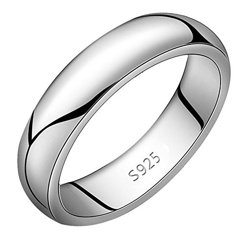 Viyino Unisex S925 Sterling Silver Highly Polished Plain Dome Tarnish Resistant Comfort Fit Wedding Band Ring 5mm Width (6.5)