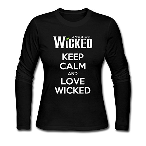 [AOPO Women's Long Sleeve Keep Calm And Love Wicked Tshirts XX-Large Black] (Courtney Love Costume)