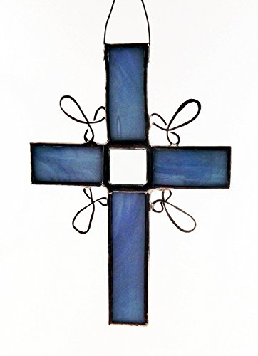 Blue or pink stained glass Cross with one glass bevel  wire work