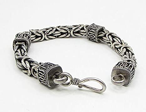 Hallmarked 1oz  Silver Byzantine Wheat Bracelet Hand Crafted in solid 925 Sterling Silver FULLY WELDED