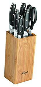 Rösle 13050 Bürsten-Messerblock inklusive Schere, 7-teilig