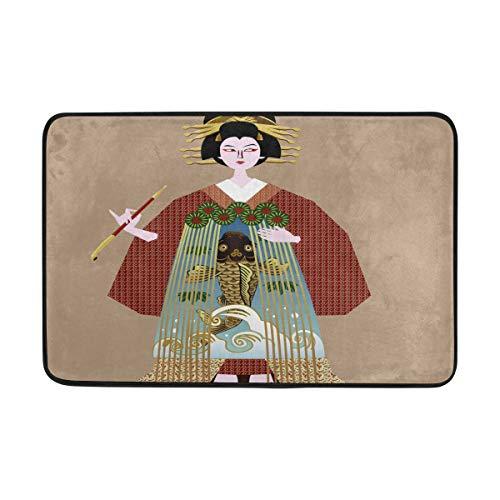 (Japan Geisha Women Bath Mat Non Slip Memory Foam Door Mat Bathroom Rugs Carpet for Inside Outdoor 15.7 x 23.6 in)