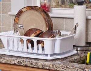 Sterilite 2-piece Large Sink Set Dish Rack Drainer, White (18 3/4'' L x 13 3/4'' W x 5 1/2'' H)