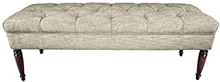 product image for MJL Furniture Designs Claudia Collection Upholstered Diamond Tufted Bedroom Accent Bench, Lucky Series, Platinum