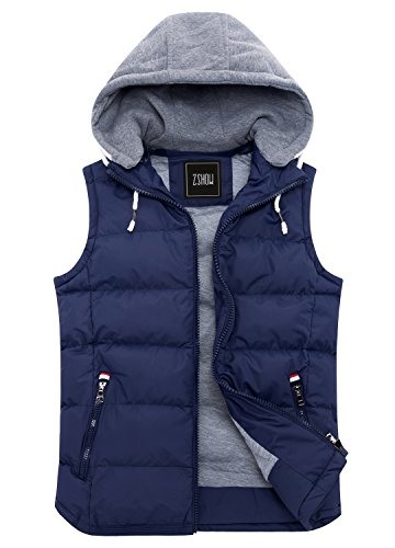 ZSHOW Men's Winter Removable Hooded Cotton-Padded Vests with Pockets(Dark Blue,Medium)