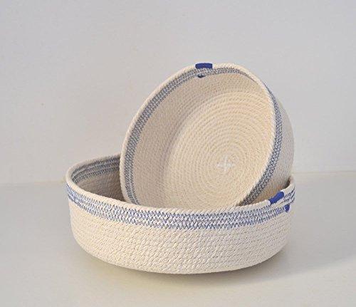 Cuenco de cuerda de algodón blanco y azul Mediterráneo. ENVÍO ...