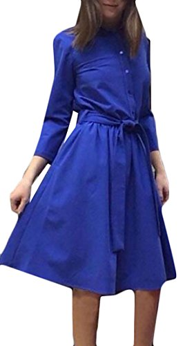 Womens Button Blue Classic A Swing Sleeve Belt Cruiize Dresses Line Long qwg6XCad