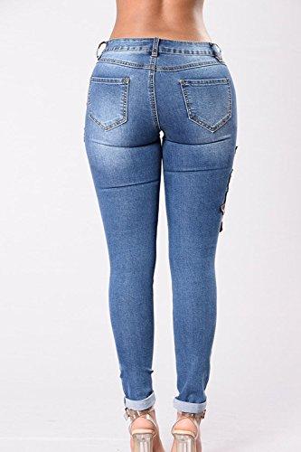 Pantalones Skinny Fanvans Jeans Rasgado Stretch Azul Bordado Mujer wSwqUC6