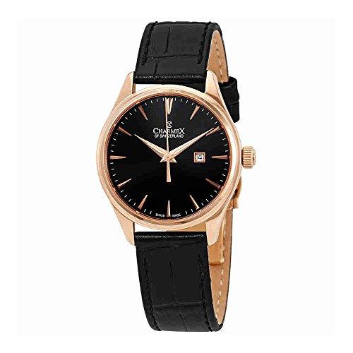 Charmex Black Dial Black Leather Ladies Watch 6382