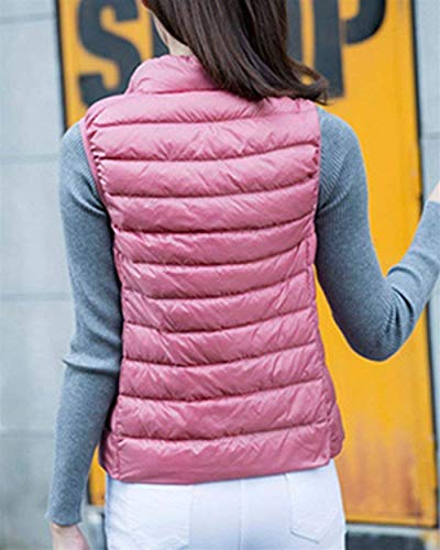 Casual Mujer Outerwear Elegantes Ligeros Tallas Pluma Acolchado Cazadoras Ropa Otoño Camisolas Abrigos Vest Chaleco Termica Pink Grandes Sleeveless Fashion PqTf5f
