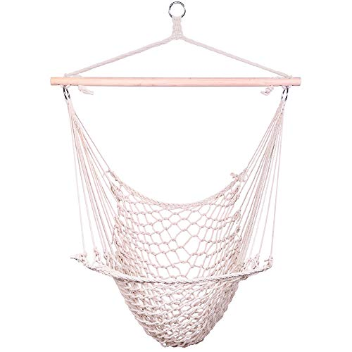 Z ZTDM Hanging Hammock Chair Swing Seat with Soft Cotton Rope, Sturdy Wood Bar, 300lbs Capacity for Indoor Outdoor Bedroom Garden Yard Patio Porch (Beige) (Hammock Hanging Inside)