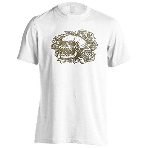 Neue Schädel Blumen Rosen Kunst Herren T-Shirt m564m