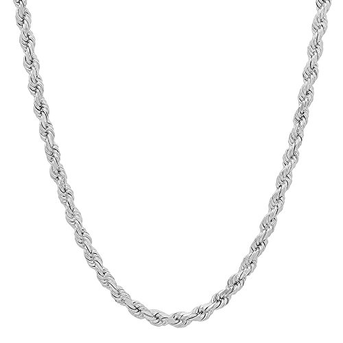 NYC Sterling Unisex Sterling Silver 4MM Diamond-Cut Rope Chain Necklace (24