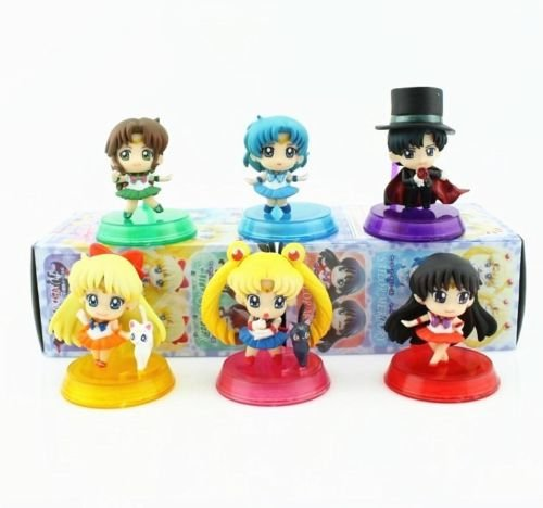 [Shalleen Anime Sailor Moon 6PCS Toy Figure Doll New in Box] (Angel Costume Tumblr)