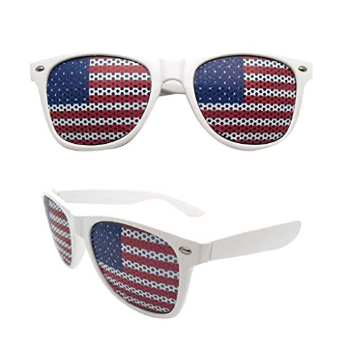 ❤️Jonerytime❤️American Flag USA Patriotic Design Plastic Shutter Glasses Shades Sunglasses Eyewear for Party Props Decoration (White)