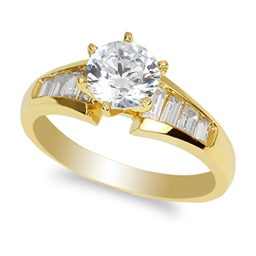 JamesJenny Ladies 10K Yellow Gold Solitaire Ring with 1.0ct Round CZ Size 7 ()