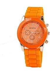 Geneva Orange Silicone Wristband Quartz Watch