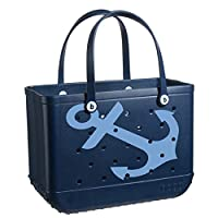BOGG BAG X Large Waterproof Washable Tip Proof Durable Open Tote Bag for the Beach Boat Pool Sports 19x15x9.5 (Limited Edition Anchor Print)